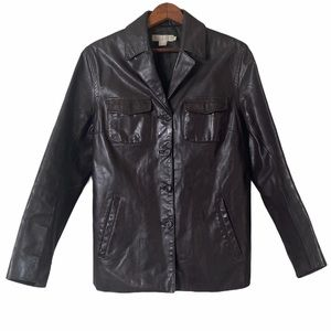 J. Crew Leather Button Down Fully Lined Jacket